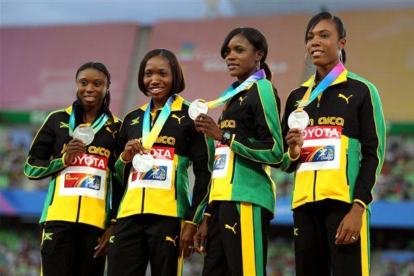 (L-R) Shericka Williams, Novlene Williams-Mills, Rosemarie Whyte and Davita Predergast of Jamaica pose with their silver medals during the medal ceremony for the women's 4x400 metres relay  (Getty Images)