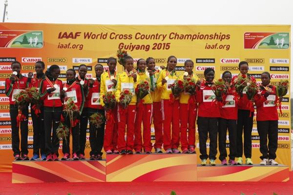 The senior women's team medallists at the IAAF World Cross Country Championships, Guiyang 2015 (Getty Images)