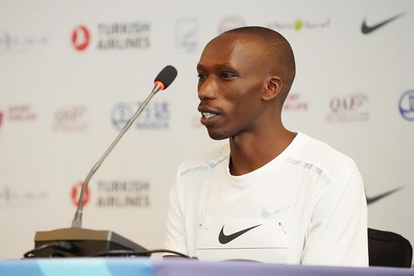 Timothy Cheruiyot at the press conference ahead of the Wanda Diamond League meeting in Doha (Matt Quine)