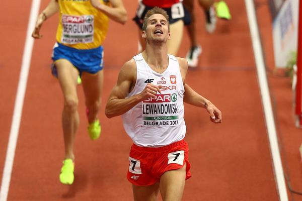 1500m winner Marcin Lewandowski of Poland at the European Indoor Championships in Belgrade (Getty Images)