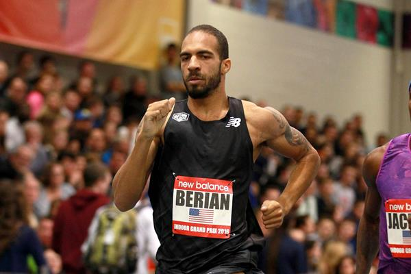 Boris Berian at the 2016 New Balance Indoor Grand Prix meeting in Boston (Andrew McClanahan)