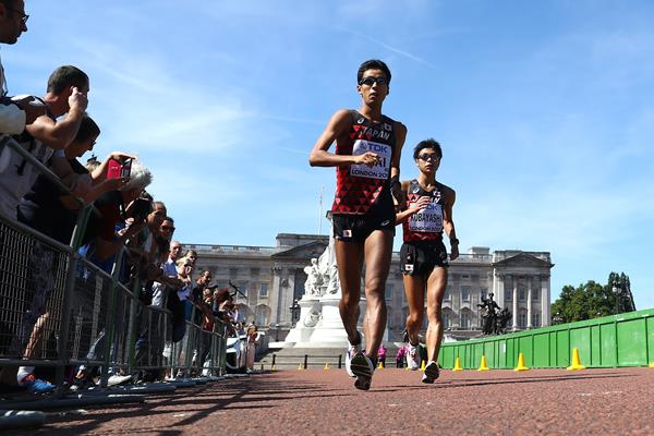 Hirooki Arai and Kai Kobayashi in the 50km race walk at the IAAF World Championships London 2017 (Getty Images)