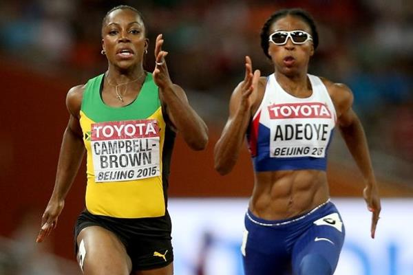 Veronica Campbell-Brown and Margaret Adeoye in the 200m heats at the IAAF World Championships, Beijing 2015 (Getty Images)