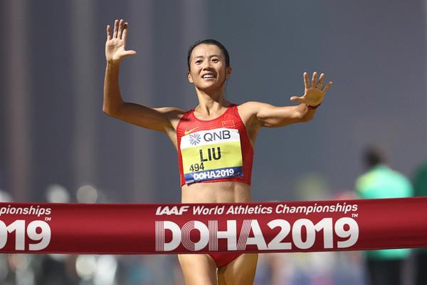 Liu Hong, women's 20km race walk champion in Doha (Getty Images)
