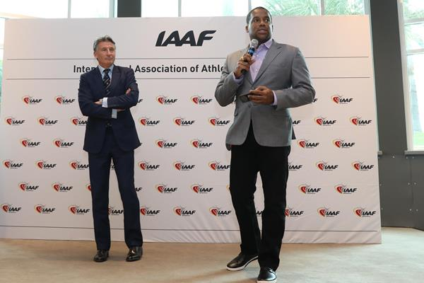 IAAF President Sebastian Coe and Ato Boldon at the world record plaque ceremony in Monaco (Philippe Fitte)