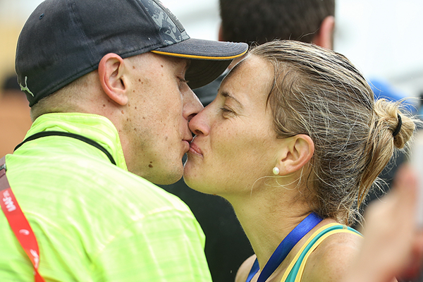 Jared and Claire Tallent at the IAAF World Race Walking Team Championships Taicang 2018 (Getty Images)