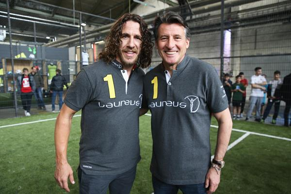 IAAF President Sebastian Coe with Carles Puyol during the Laureus Sport for Good Jam in Berlin (Getty Images)