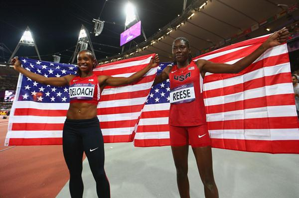 Gold medalist Brittney Reese of the United States celebrates with teammate and bronze medalist Janay Deloach of the United States after the Women's Long Jump Final on Day 12 of the London 2012 Olympic Games on 8 August 2012 (Getty Images)