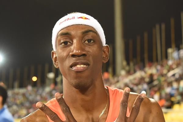 Pedro Pablo Pichardo after his triple jump win at the IAAF Diamond League meeting in Doha (Hasse Sjogren)