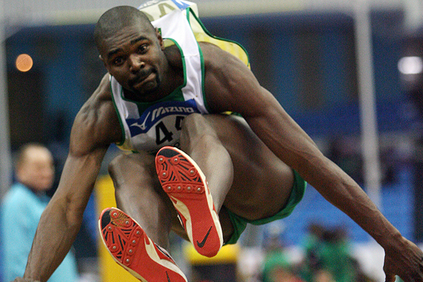 Brazilian triple jumper Jadel Gregorio in action at the IAAF World Indoor Championships (Getty Images)