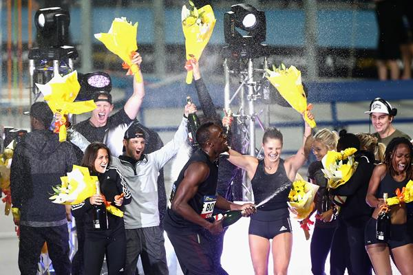 Usain Bolt celebrates winning the Nitro series title in Melbourne (Getty Images)