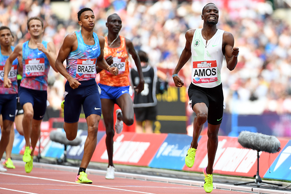 Nijel Amos wins the 800m at the IAAF Diamond League meeting in London (Errol Anderson)