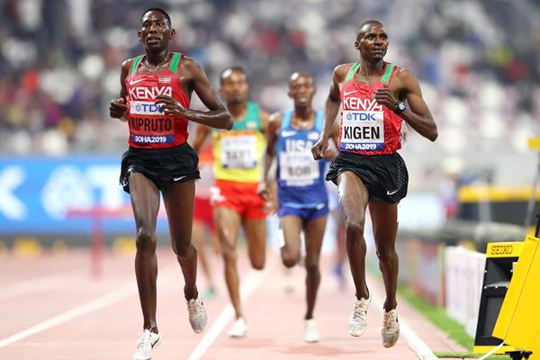 Kenyans Conseslus Kipruto and Benjamin Kigen in steeplechase qualifying in Doha (Getty Images)