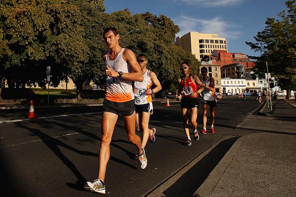 Dane Bird-Smith leads the men's 20km race walk in Hobart (Getty Images)
