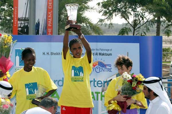 Diribe Hunde of Ethiopia on the women's victory podium (Jorge Ferrari)