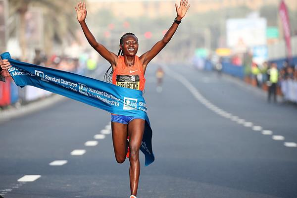 Ruth Chepngetich wins the Dubai Marathon (Giancarlo Colombo / organisers)