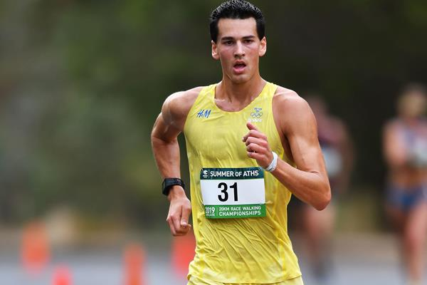 Perseus Karlstrom en route to his win at the Adelaide 20km (Getty Images)