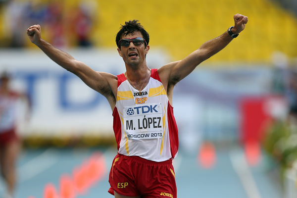Miguel Angel Lopez takes the bronze medal in the 20km race walk at the IAAF World Championships, Moscow 2013 (Getty Images)