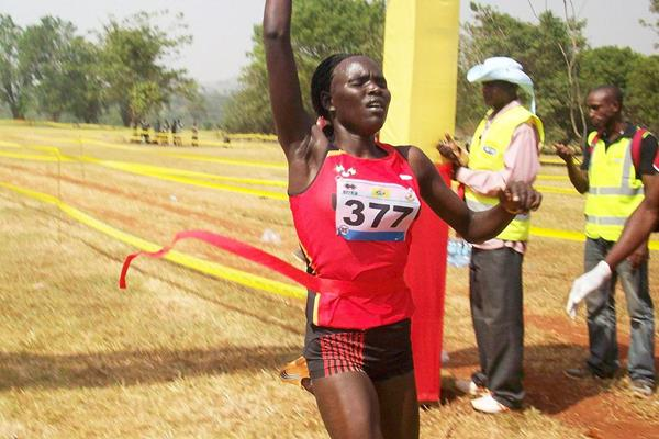 Juliet Chekwel wins the Ugandan cross-country title (Namayo Mawerere)