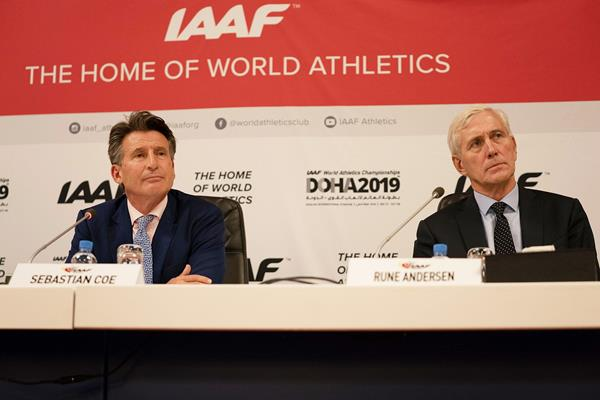 IAAF President Sebastian Coe and Russia Taskforce chair Rune Andersen in Doha (Matthew Quine)