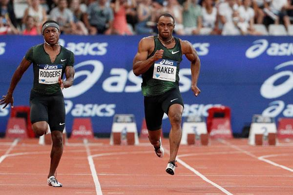 Ronnie Baker on his way to winning the 100m at the Diamond League meeting in Paris (AFP / Getty Images)