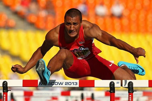 Ashton Eaton in the mens Decathlon 110mH at the IAAF World Athletics Championships Moscow 2013 (Getty Images)