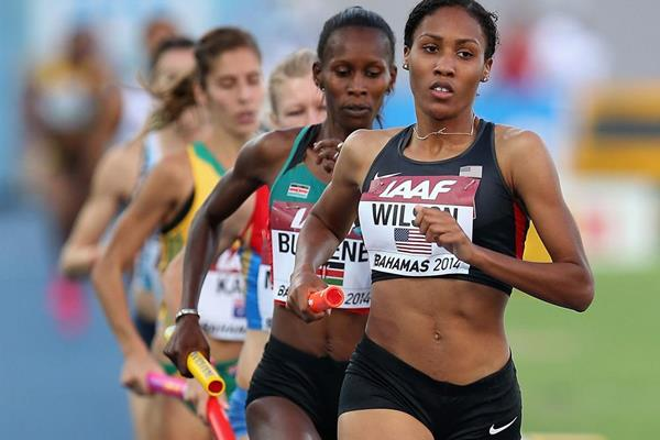 USA's Ajee Wilson leads the 4x800m at the IAAF World Relays in Nassau (Getty Images)