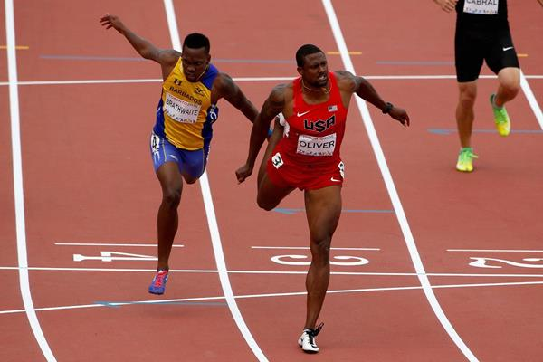 David Oliver wins the 110m hurdles at the 2015 Pan American Games (Getty Images)