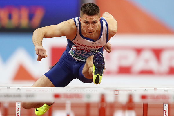Andrew Pozzi in the 60m hurdles at the European Indoor Championships in Belgrade (Getty Images)