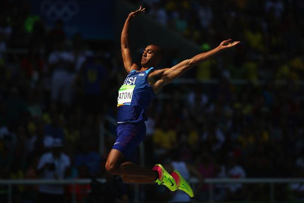 Ashton Eaton in the decathlon long jump at the Rio 2016 Olympic Games (Getty Images)