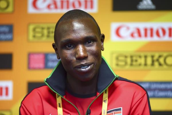 Geoffrey Kamworor at the press conference for the IAAF/Cardiff University World Half Marathon Championships Cardiff 2016 (Getty Images)