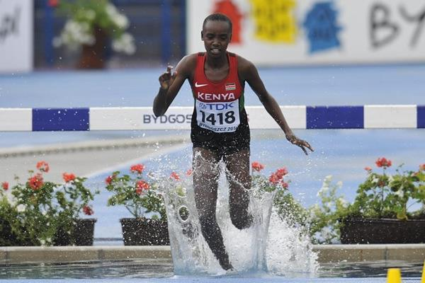 Celliphine Chepteek Chespol competes in the 3000m steeplechase qualifying round at the IAAF World U20 Championships Bydgoszcz 2016 (Getty Images)