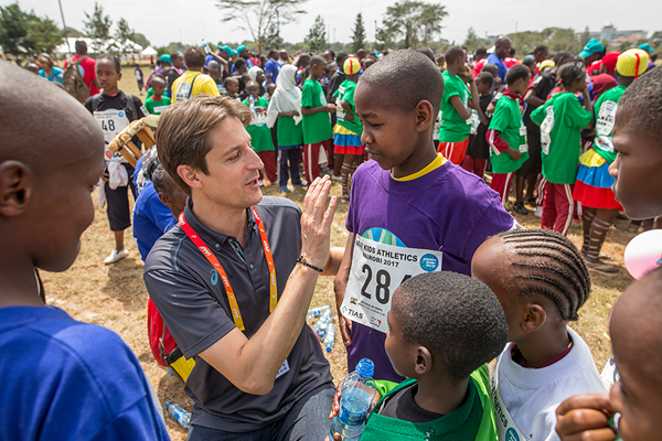 IAAF CEO Olivier Gers at the IAAF Kids Athletics event in Nairobi (Getty Images)