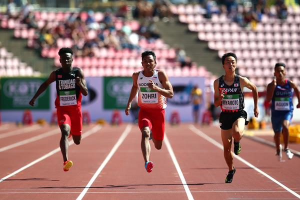Lalu Muhammad Zohri in the 100m at the IAAF World U20 Championships Tampere 2018 (Getty Images)