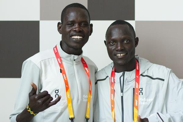 Athlete Refugee Team members Ukuk Utho'o Bul and Paulo Amotun Lokoro in Valencia (Bob Ramsak)
