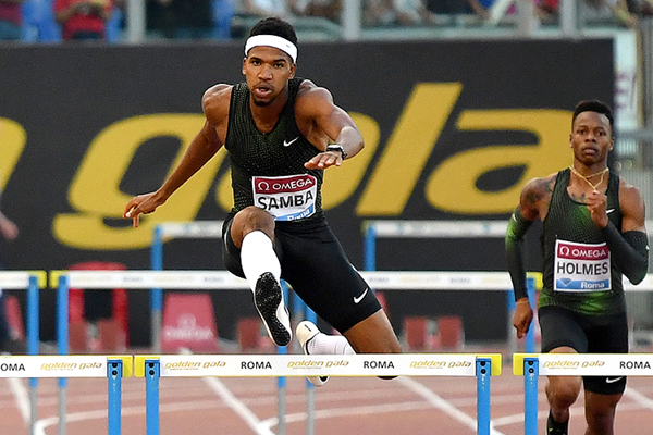 Abderrahman Samba in the 400m hurdles at the IAAF Diamond League meeting in Rome (AFP / Getty Images)