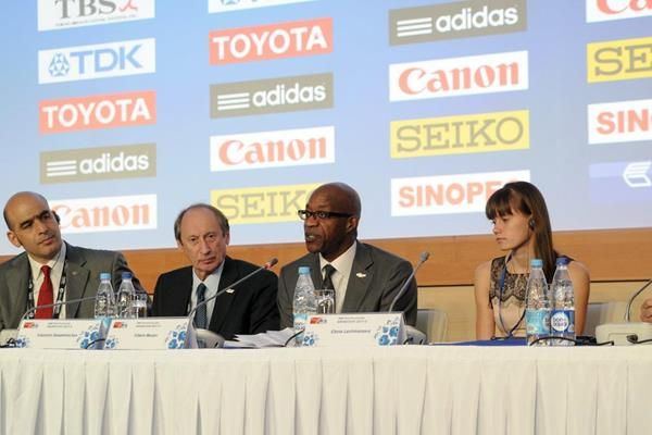 Edwin Moses talking at the IAAF press conference at SportAccord (Organisers)