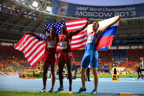 David Oliver, Ryan Wilson and Sergey Shubenkov in the mens 110m Hurdles Final at the IAAF World Athletics Championships Moscow 2013 (Getty Images)