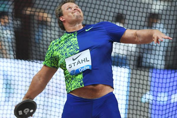 Daniel Stahl after winning the discus at the IAAF Diamond League meeting in Doha (Jiro Mochizuki)