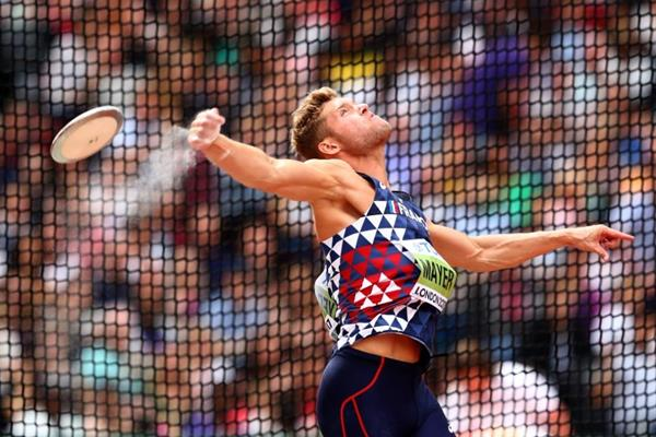 Kevin Mayer in the decathlon discus at the IAAF World Championships London 2017 (Getty Images)