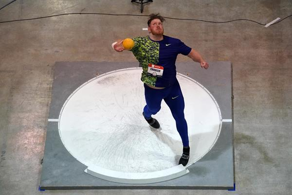 Ryan Crouser at the US Indoor Championships in Albuquerque (Kirby Lee)