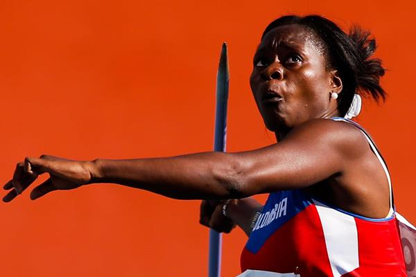 Colombia's Flor Ruiz in action in the javelin (Getty Images)