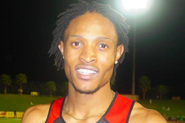 Khotso Mokoena after he 8.34 leap in Tshwane (Mark Ouma)