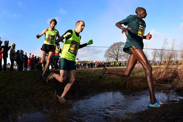 (L-R) Garrett Heath, Dathan Ritzenhein and Asbel Kiprop during the 4km race at the 2015 Great Edinburgh XCountry (Getty Images)