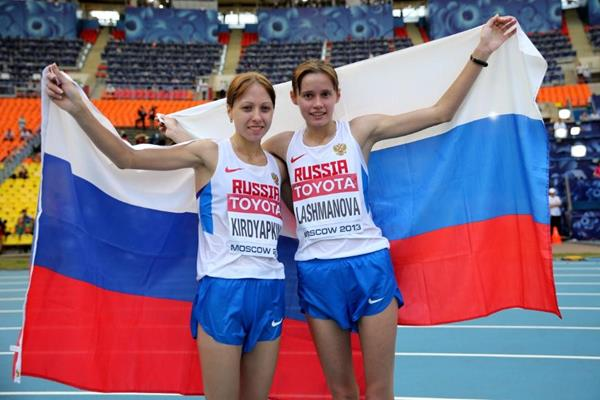 Elena Lashmanova and Anisya Kirdyapkina in the womens Race Walk at the IAAF World Championships Moscow 2013 (Getty Images)
