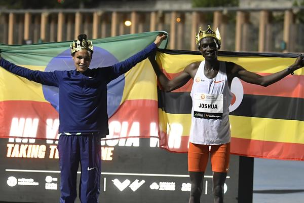 Letesenbet Gidey and Joshua Cheptegei after breaking world records in Valencia (AFP / Getty Images)