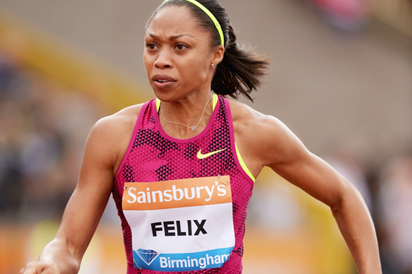 Allyson Felix in action at the IAAF Diamond League meeting in Birmingham (Getty Images)