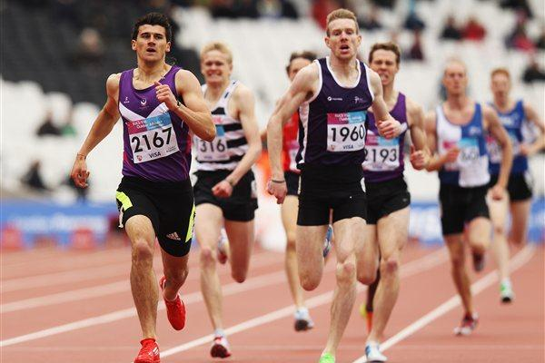 Guy Learmouth (2167) winning the British Universities 800m title at London's Olympic Stadium (Getty Images)