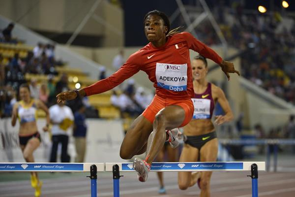 Kemi Adekoya winning the 400m hurdles at the 2014 IAAF Diamond League in Doha (Deca Text & Bild)