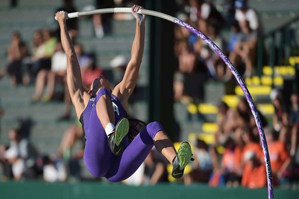 Demi Payne on her way to winning the pole vault at the NCAA Championships (Kirby Lee)